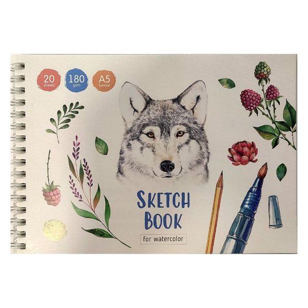 """Скетчбук-блокнот для акварели на гребне """"Акварельные портреты"""" (волк) А5, 20 листов, 180г/м2"""